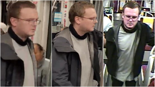 A suspect wanted in connection with a stabbing on a TTC streetcar is shown in this surveillance camera image. (Toronto Police Service)