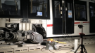 An LRT train derailed near Tunney's Pasture station on Aug. 8. after a fault within the axle bearing assembly. (Photo courtesy: City of Ottawa)