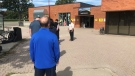 Residents in the Barrie - Innisfil riding line up outside the Allandale Recreational Centre in Barrie, Ont., on Mon., Sept. 13, 2021, to cast their ballot in the advanced polling. (CTV News Barrie)