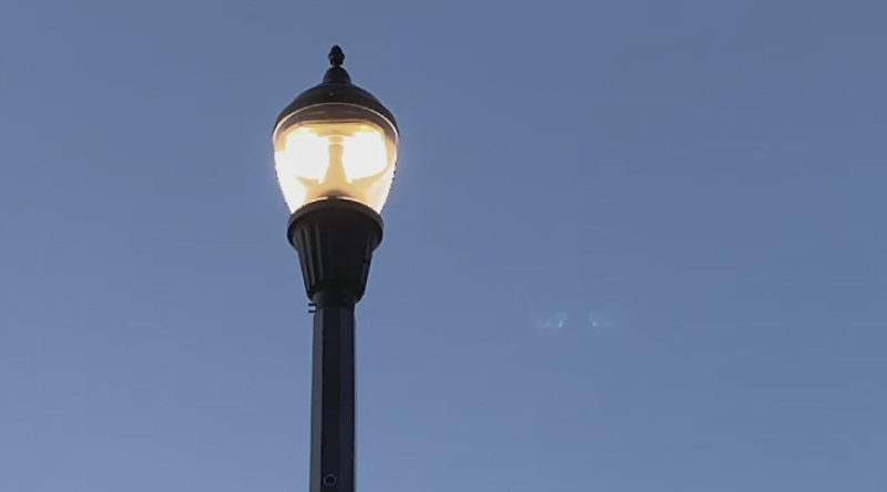 street light at dusk