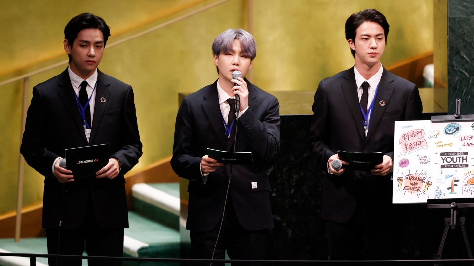 Members of South Korean K-pop band BTS appear at the Sustainable Development Goals meeting during the 76th session of the United Nations General Assembly, at the United Nations Headquarters on Monday, Sept. 20, 2021. (John Angelillo/Pool via AP)