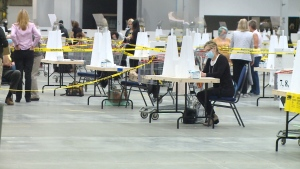 Voters were in and out in 10 minutes at Canada's largest polling station in Regina, Sask. (Allison Bamford/CTV News)
