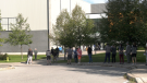 Voters lineup outside a polling station in the riding of Barrie-Innisfil on Mon., Sept. 20, 2021. (Kraig Krause/CTV News)
