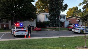 Montreal police investigate a collision outside a polling station on Sunshine Street on Monday, Sept. 20, 2021. (Source: Submitted photo)