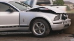 Ford Mustang front end smashed up