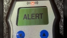 An 'alert' reading is shown on a police breathalizer device. (OPP_CR)