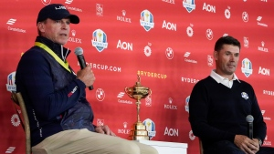 Team USA captain Steve Stricker and Team Europe captain Padraig Harrington answer questions at a new conference for the Ryder Cup at the Whistling Straits Golf Course Monday, Sept. 20, 2021, in Sheboygan, Wis. (AP Photo/Morry Gash)