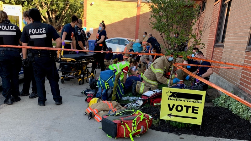 Police respond to a collision near 65 Sunshine St. in Montreal that sent eight people to hospital on Monday, Sept. 20, 2021. (Submitted photo)