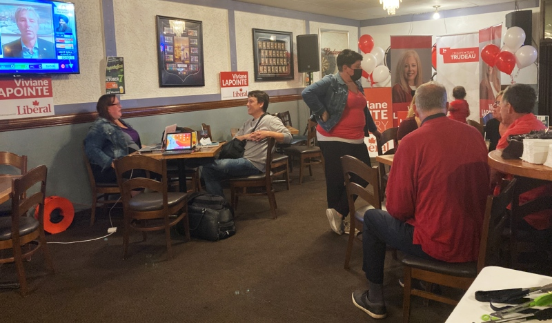 Liberal supporters in Sudbury are anxiously awaiting federal election results at a restaurant in New Sudbury. (Alana Everson/CTV News)