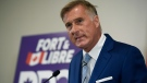 People's Party of Canada Leader Maxime Bernier speaks at a news conference after Parliament was dissolved, triggering an election, in Ottawa, on Sunday, Aug. 15, 2021. THE CANADIAN PRESS/Justin Tang
