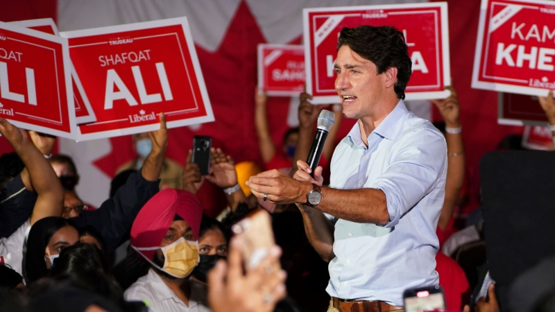 Liberal Leader Justin Trudeau takes part in a campaign rally in Brampton, Ont., on Tuesday, Sept. 14, 2021. THE CANADIAN PRESS/Sean Kilpatrick