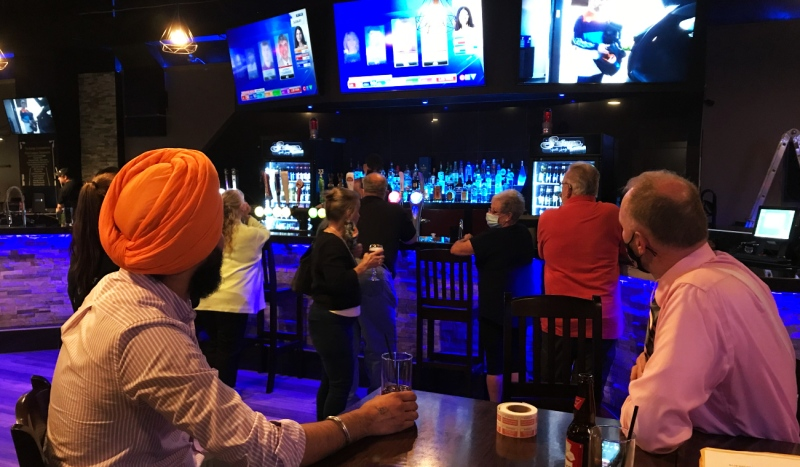 New Democrat supporters in Timmins are eagerly awaiting election results at The Surge Sports Bar. (Sergio Arangio/CTV News)