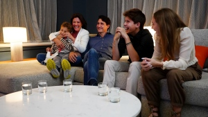 Liberal leader Justin Trudeau watches election results with wife Sophie Gregoire-Trudeau and children, Xavier, Ella-Grace and Hadrien, at Liberal headquarters in Montreal, Monday, Sept. 20, 2021. THE CANADIAN PRESS/Sean Kilpatrick