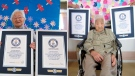 This combination of two undated photos released by Guinness World Records on Tuesday, Sept. 21, 2021, show sisters Umeno Sumiyama, left, and Koume Kodama at separate nursing homes in Shodoshima island, left, and Oita prefecture, Japan. (Guinness World Records via AP)