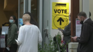 Voters lineup at a polling station in North Vancouver, B.C. (CTV)