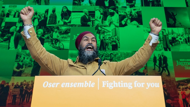 NDP Leader Jagmeet Singh hams it up as he does a walk through of the election night stage setup in Vancouver,  Monday, Sept. 20, 2021. THE CANADIAN PRESS/Jonathan Hayward