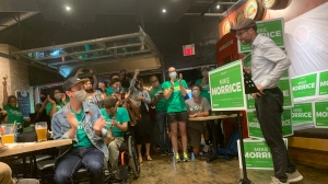 Mike Morrice addresses the crowd in Kitchener Centre after winning the riding (Leighanne Evans / CTV Kitchener)