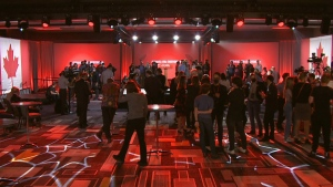 A view of supporters at the Liberal campaign headquarters.