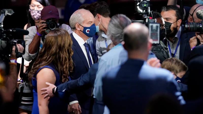 Conservative Leader Erin O'Toole's arrives to speak at the Conservative election night headquarters during the Canadian federal election in Oshawa, Ont., on early Tuesday, September 21, 2021. THE CANADIAN PRESS/Adrian Wyld