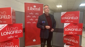 Lloyd Longfield speaks after winning the Guelph riding. (Natalie van Rooy/CTV Kitchener)