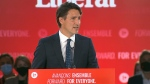 Liberal Leader Justin Trudeau speaks to supporters.