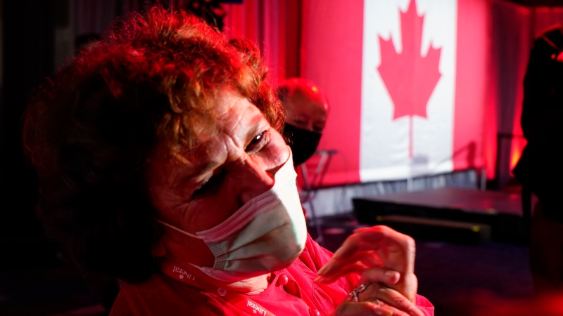 Margaret Trudeau, mother of Prime Minister Justin Trudeau, celebrates her son's victory at Party campaign headquarters in Montreal, early Tuesday, Sept. 21, 2021. THE CANADIAN PRESS/Paul Chiasson