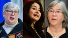 This composite image shows Fisheries Minister Bernadette Jordan, Rural Economic Development Minister Maryam Monsef, and Seniors Minister Deb Schulte, all of whom were defeated in the 2021 federal election. (Original photos by The Canadian Press)