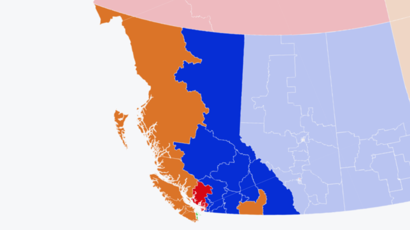 A CTV News election map shows the parties leading or elected in all 42 of B.C.'s federal ridings as of Monday night.