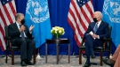 U.S. President Joe Biden meets with United Nations Secretary General Antonio Guterres at the Intercontinental Barclay Hotel during the United Nations General Assembly, Monday, Sept. 20, 2021, in New York. (AP Photo/Evan Vucci)