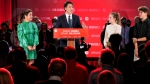 Prime Minister Justin Trudeau is joined on stage by wife Sophie Gregoire Trudeau, left, and children Ella-Grace and Xavier, right, during his victory speech at Party campaign headquarters in Montreal, early Tuesday, Sept. 21, 2021. THE CANADIAN PRESS/Paul Chiasson
