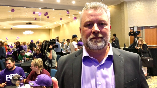 Mark Friesen is pictured at the PPC campaign headquarters in Saskatoon on Sept. 20, 2021.