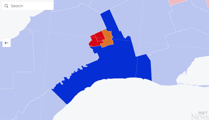Election Map Results in Southwestern Ontario.