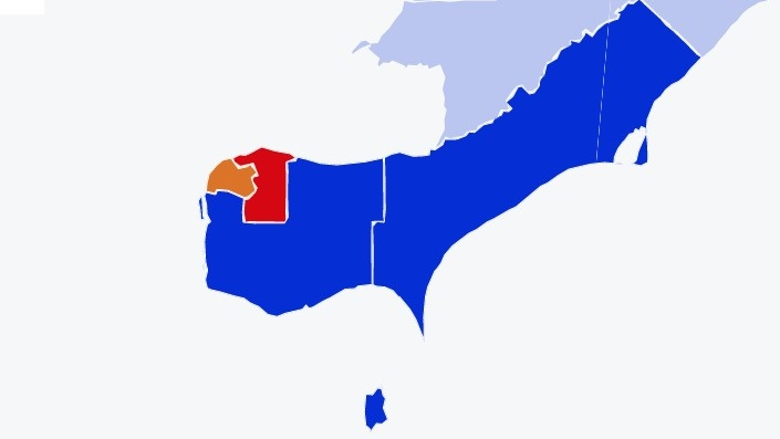 Election Results Map in Windsor-Essex and Chatham-Kent
