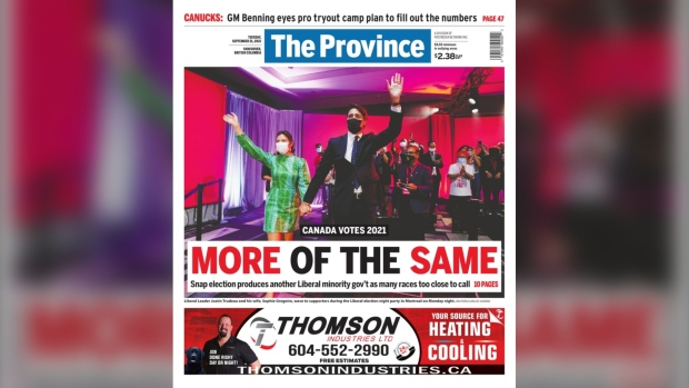 The Province newspaper pictured the day after the 2021 federal election.