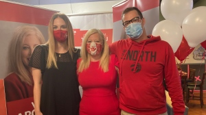 Sudbury MP-Elect Viviane Lapointe (centre) and her two children Connor (right) and Erin (left) Griffiths. Sept. 21/20 (Alana Everson/CTV Northern Ontario)