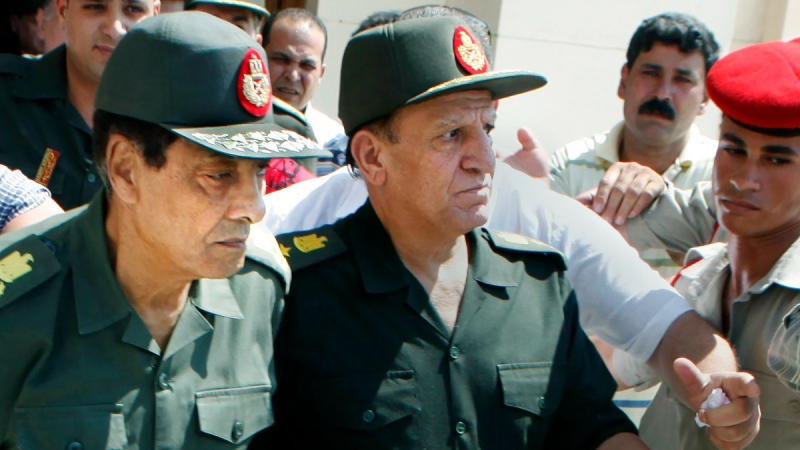 Egypt's then military ruler field marshal Hussein Tantawi, left, and Sami Annan, then Egyptian chief of staff of the armed forces, on Sept. 16, 2011. (Amr Nabil / AP)
