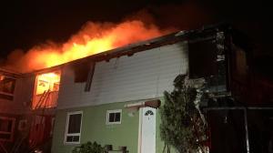 Apartment building on fire on Antwerp Avenue in Sudbury's Donovan neighbourhood. Sept. 21/21 (Jesse Oshell)