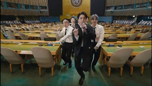 BTS performs 'Permission to Dance' in a pre-recorded message that was played during the UN General Assembly, Sustainable Development Goals, on Sept. 20, 2021. (UNTV via AP)