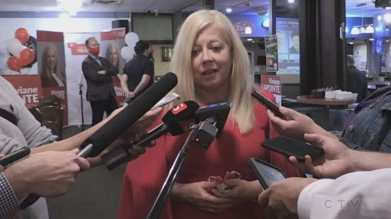 Liberal MP-Elect Viviane Lapointe talks to media about her win. Sept. 21/21 (Alana Everson/CTV Northern Ontario)