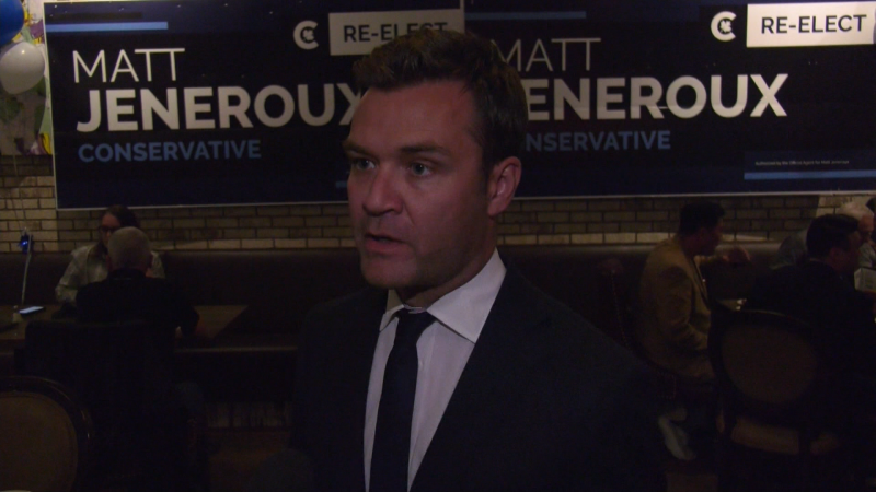 Edmonton-Riverbend's re-elected Matt Jeneroux, speaking the night of the 2021 federal election on Sept. 21, says Conservative Leader Erin O'Toole has brought the party more in line with his beliefs.