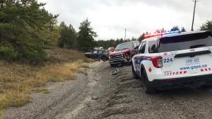 Several vehicles involved in crash on Longyear Drive in Falconbridge. Sept. 21/21 (Molly Frommer/CTV Northern Ontario)