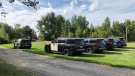 Police in Smiths Falls, Ont. say a body was discovered in a wooded area along William Street West. Local police and the OPP are investigating. Sept. 21, 2021. (Nate Vandermeer / CTV News Ottawa)