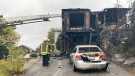 Firefighters on the scene of a burned out apartment building on Antwerp Avenue where one person was found dead. Sept. 21/21 (Alana Everson/CTV Northern Ontario)