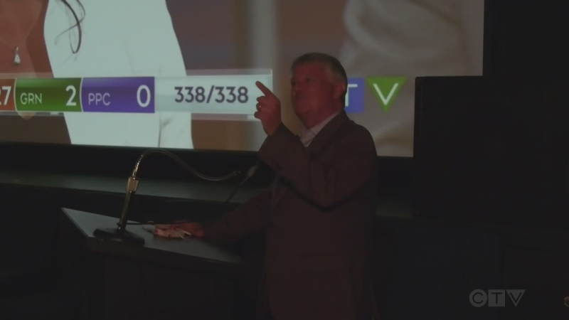 Terry Sheehan speaks to nervous onlookers, as the election results in the riding of Sault Ste. Marie goes down to the wire. Sept. 21/21 (Christian D'Avino/CTV Northern Ontario)