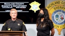 Richland County Sheriff Leon Lott, left, and Coroner Nadia Rutherford, right, talk about the heat deaths of two 20-month-old twin boys during a news conference on Tuesday, Sept. 21, 2021, in Columbia, S.C. (AP Photo/Jeffrey Collins)