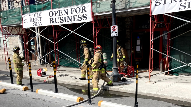 Ottawa firefighters at the scene of a dryer fire in the basement of the York Street Spa in the ByWard Market. Tues., Sept. 21, 2021. (Photo courtesy of Ottawa Fire Services)