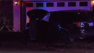 A vehicle collided with a house in the 800 block of Avenue S North, police say. (Ryan Fletcher/CTV Saskatoon)