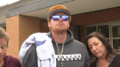Cody McConnell, partner of Mchale Busch and father of their son Noah, makes a brief statement outside Edson provincial court on Sept. 21, 2021.