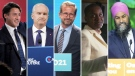 Prime Minister Justin Trudeau, Conservative Leader Erin O'Toole, Bloc Quebecois Leader Yves-Francois Blanchet, Green Party Leader Annamie Paul and NDP Leader Jagmeet Singh are seen in this composite image. (Images via The Canadian Press)