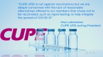 CUPE statement on mandatory COVID-19 vaccine policy for workers Sept. 21/21 (CTV Northern Ontario)